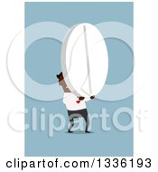 Clipart Of A Flat Design Black Businessman Carrying A Giant Pill On Blue Royalty Free Vector Illustration