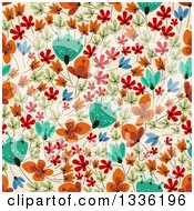 Clipart Of A Seamless Background Pattern Of Retro Flowers On Tan Royalty Free Vector Illustration by Vector Tradition SM