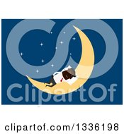 Clipart Of A Flat Modern Black Businessman Sleeping On A Crescent Moon Over Blue Royalty Free Vector Illustration