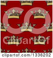 Clipart Of A Seamless Pattern Background Of Gold Crowns On Red Royalty Free Vector Illustration