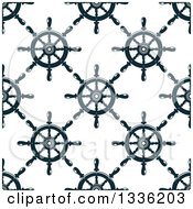 Clipart Of A Seamless Pattern Background Of Navy Blue Ship Helm Steering Wheels Royalty Free Vector Illustration by Vector Tradition SM
