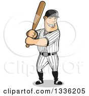 Clipart Of A Cartoon Happy Grinning White Male Baseball Player Batting Royalty Free Vector Illustration by Vector Tradition SM