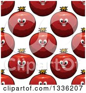 Clipart Of A Seamless Pattern Background Of Pomegranate Characters Royalty Free Vector Illustration