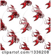 Clipart Of A Seamless Pattern Background Of Red Lobsters Royalty Free Vector Illustration by Vector Tradition SM