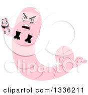 Clipart Of A Pink Monster Worm With Two Heads And Gloves Royalty Free Vector Illustration by Liron Peer