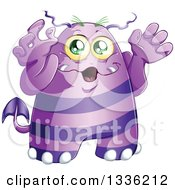 Clipart Of A Cartoon Purple Monster Royalty Free Vector Illustration