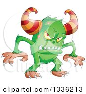 Clipart Of A Cartoon Green Horned Monster Royalty Free Vector Illustration