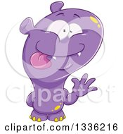 Clipart Of A Cartoon Purple Monster Waving Royalty Free Vector Illustration by Liron Peer