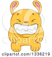 Clipart Of A Cartoon Grinning Yellow Monster Rabbit Royalty Free Vector Illustration by Liron Peer