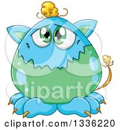 Clipart Of A Cartoon Blue And Green Monster Royalty Free Vector Illustration
