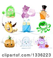 Clipart Of Cartoon Halloween Monsters Royalty Free Vector Illustration by Liron Peer