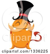 Clipart Of A Cartoon Orange Monster With A Top Hat And Forked Tail Royalty Free Vector Illustration by Liron Peer