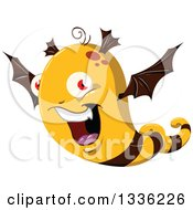 Clipart Of A Cartoon Bat Winged Bee Monster Royalty Free Vector Illustration by Liron Peer