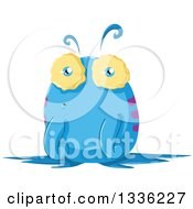 Clipart Of A Cartoon Blue Monster Royalty Free Vector Illustration by Liron Peer