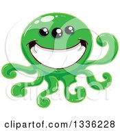 Clipart Of A Cartoon Grinning Green Tentacled Monster Royalty Free Vector Illustration