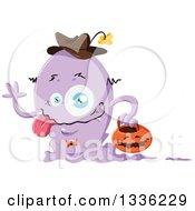 Clipart Of A Cartoon Purple Halloween Monster Royalty Free Vector Illustration by Liron Peer