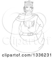 Clipart Of A Cartoon Black And White Grinning Young Male King With Hands On His Hips Royalty Free Vector Illustration by Liron Peer