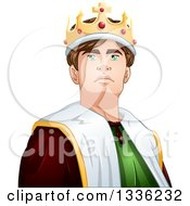 Clipart Of A Cartoon Handsome Brunette Young White Male King From The Chest Up Royalty Free Vector Illustration