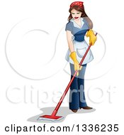 Clipart Of A Sexy Brunette Latina Maid Mopping Royalty Free Vector Illustration