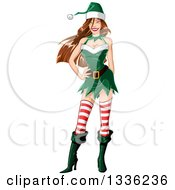 Clipart Of A Sexy Brunette White Christmas Elf Pinup Woman Royalty Free Vector Illustration