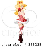 Clipart Of A Sexy Blond White Pinup Woman In A Christmas Santa Suit Looking Back Her Rear End Showing Royalty Free Vector Illustration by Liron Peer