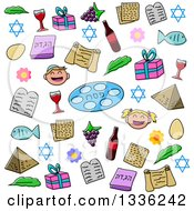 Clipart Of Doodled Jewish Passover Holiday Items Royalty Free Vector Illustration