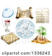 Clipart Of Jewish Holiday Passover Items Royalty Free Vector Illustration by Liron Peer
