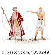 Clipart Of An Ancient Egyptian Pharaoh Sending Moses Away Royalty Free Vector Illustration