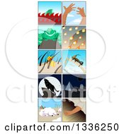 Clipart Of Insect And Animal Passover Plagues Royalty Free Vector Illustration
