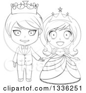 Clipart Of A Black And White Sketched Princess And Prince Holding Hands Royalty Free Vector Illustration by Liron Peer