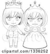 Clipart Of A Black And White Sketched Princess And Prince Holding Hands 2 Royalty Free Vector Illustration by Liron Peer