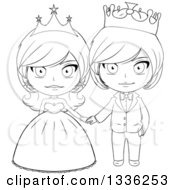 Clipart Of A Black And White Sketched Princess And Prince Holding Hands 3 Royalty Free Vector Illustration by Liron Peer