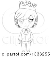 Clipart Of A Black And White Sketched Prince 2 Royalty Free Vector Illustration