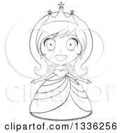 Clipart Of A Black And White Sketched Princess Royalty Free Vector Illustration by Liron Peer