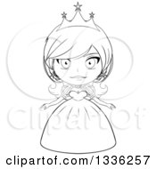 Clipart Of A Black And White Sketched Princess 2 Royalty Free Vector Illustration by Liron Peer
