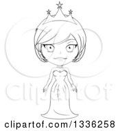 Clipart Of A Black And White Sketched Princess 3 Royalty Free Vector Illustration by Liron Peer