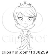 Clipart Of A Black And White Sketched Princess 4 Royalty Free Vector Illustration by Liron Peer