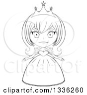 Clipart Of A Black And White Sketched Princess 5 Royalty Free Vector Illustration by Liron Peer