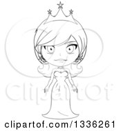 Clipart Of A Black And White Sketched Princess 6 Royalty Free Vector Illustration by Liron Peer