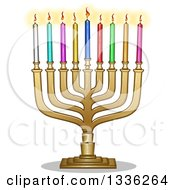 Clipart Of A Golden Hanukkah Menorah Lamp With Colorful Candles Royalty Free Vector Illustration