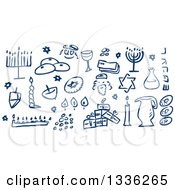 Clipart Of Sketched Blue Jewish Holiday Hannukah Items Royalty Free Vector Illustration
