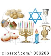 Clipart Of Jewish Holiday Hanukkah Items Royalty Free Vector Illustration