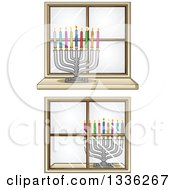 Silver Hanukkah Menorah Lamps With Colorful Candles In Windows