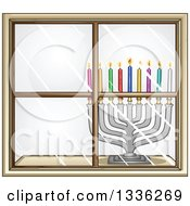 Silver Hanukkah Menorah Lamp With Colorful Candles In A Window