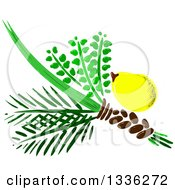 Clipart Of Jewish Rosh Hashana Four Species 2 Royalty Free Vector Illustration by Liron Peer