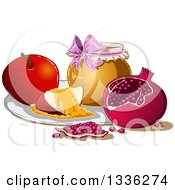 Clipart Of A Honey Jar Apple And Pomegranate For Rosh Hashanah Royalty Free Vector Illustration