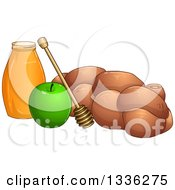 Clipart Of A Honey Jar Dipper Green Apple And Chala For Rosh Hashanah Royalty Free Vector Illustration by Liron Peer