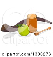 Clipart Of A Honey Jar Dipper Green Apple And Shofar For Yom Kippur Royalty Free Vector Illustration