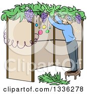 Clipart Of A Cartoon Jewish Man Standing On A Stool And Building A Sukkah For Sukkot Royalty Free Vector Illustration by Liron Peer