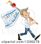 Clipart Of A Cartoon Happy Jewish Guy Walking With A Happy New Year Flag For Rosh Hashana Royalty Free Vector Illustration